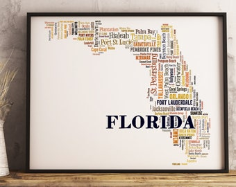 Florida Map Art, Florida Art Print, Florida City Map, Florida Typography Art, Florida Poster Print, Florida Word Cloud