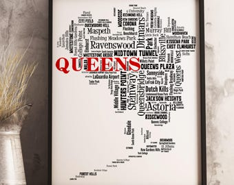 Queens Map Art, Queens Art Print, Queens Neighborhood Map, Queens Typography Art, Queens Wall Decor, Queens Moving Gift