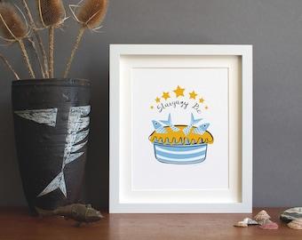Stargazy Pie print with Cornish Blue and Yellow Stars - Cornish Fish Pie from Cornwall - Kitchen Art - Child Room Art - fishes - stars