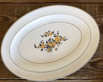 Vintage Knowles Taylor & Knowles Black and Yellow Gold Floral Oval Platter