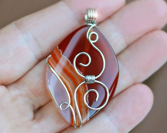 Brown & Orange Banded Agate Wire Wrapped Gemstone Pendant - 30mm x 50mm