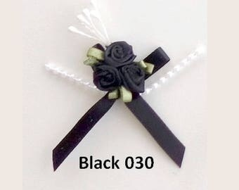 3 small black satin roses bouquet 3