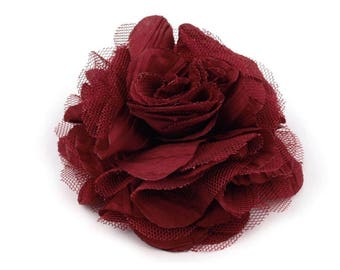 Large Burgundy flower for hair or brooch 9 cm