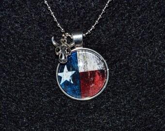 Texas Flag - Texas Pride - Texas - Handmade - Cabochon Pendant Necklace