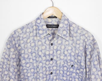 linen floral print short sleeve button down shirt - vintage - mens medium / large