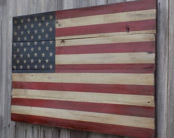 Rustic Wooden American Flag, 22 X 36 inches. Made from recycled fencing. Free Shipping N