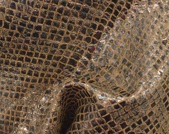 "Fashion Illuminated Metallic Lantern Snake Print Leather Pig Hide 4"" x 6"" Project Piece 1 1/2 oz TA-56940 (Sec. 3,Shelf 5,C,Box 3)"