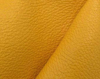"NZ Deer Sale Rustic Hello Yellow Leather New Zealand Deer Hide 4"" x 6"" Pre-cut 3-4 ounces-31 DE-66170 (Sec. 3,Shelf 5,A,Box 2)"