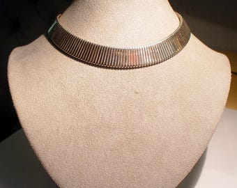Antique Art Deco Flexible Sterling Silver COLLAR Necklace