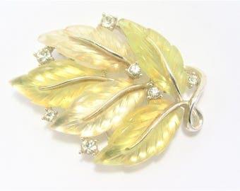 Vintage Lisner Leaf Brooch Lemon Yellow Lucite Leaves and Rhinestones