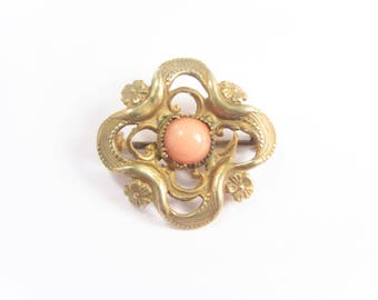 Antique Victorian Coral Bead Collar Pin Vintage Estate Jewelry