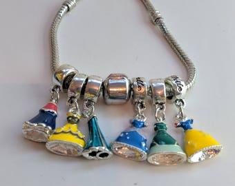Princess bracelet, Disney inspired bracelet, charm bracelet, princess jewelry, gifts for her, fandom bracelet, fandom jewelry,