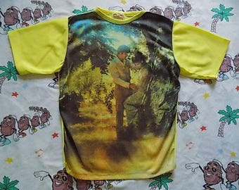 Vintage 70's Psychedelic Art Photo Print Polyester T shirt, size Medium by Atlas