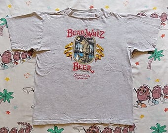 Vintage 80's Bear Whiz Beer T shirt, size Medium 1987 Grand Lake Colorado funny drunk