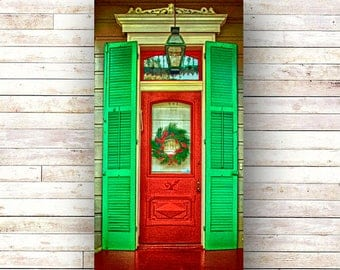 New Orleans Art -WREATH DOOR -French Quarter Doors - Architecture - Photography -Doors-Shutters- Historic Building- Birch Boxes- Wood