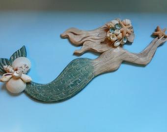 SeaShell  Wall Mermaid- Coastal Home Decor-Mermaid Art-Mermaids-Mermaid Decor-Wall Mermaid-Mermaid With Shells