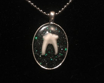 SALE* Black and Green Glitter Tooth Necklace