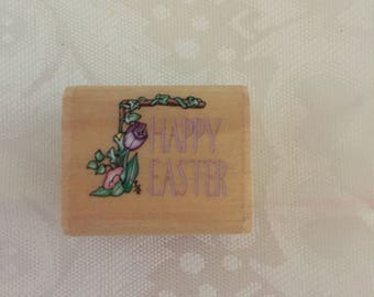 D071 Pink Happy Easter rubber stamp