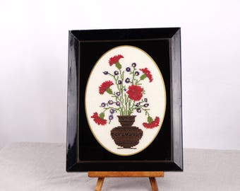 Floral Embroidered Canvas, Framed Cross stitch Wall Decor, Needlepoint Canvas Tapestry, Greek Embroidery, Flower Art, Embroidered Wall Art