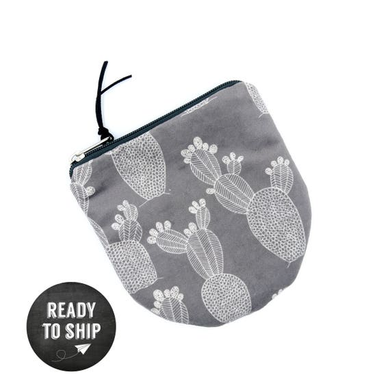 """Round Pouch Grey and white graphics """"prickly pears"""", small bag in brushed poly"""