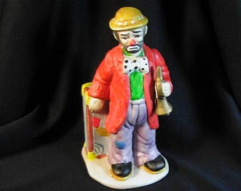 Vintage Emmett Kelly Jr. Collection Clown Flambro Figurine with Trumpet, Signed Figurine