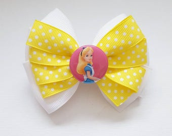 Alice in Wonderland Hairbow White & Yellow With Polka Dots