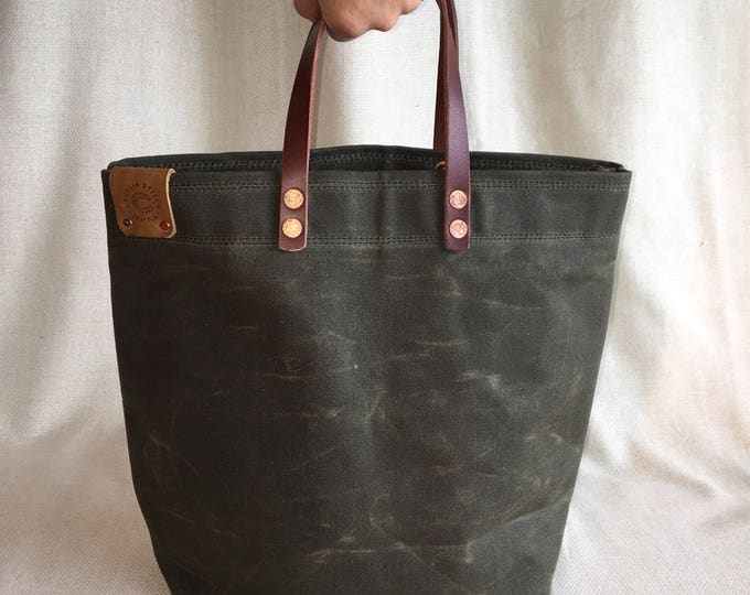 Scout - Waxed canvas bucket hand-held tote - FREE SHIPPING