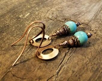 Turquoise Earrings, Copper Earrings, Dangle Earrings