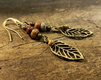 Earthy Earrings, Leaf Earrings, Boho Earrings, Dangle Earrings