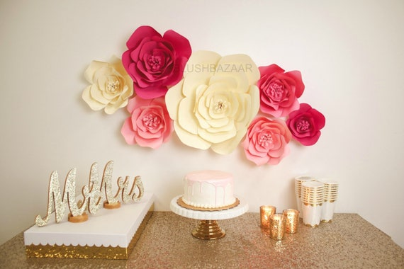 Pink and cream paper flower wall wedding backdrop large paper il570xn mightylinksfo Image collections