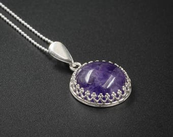 Natural amethyst pendant necklace amethyst and sterling silver handmade semiprecious stone pendant necklace purple silver pendant