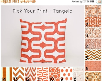 "On Sale July Only Orange Pillow Cover PICK YOUR PRINT (1) Orange Cushion Cover in Orange and White Pillow Sham Orange Pillow Sham 16"", 18"","