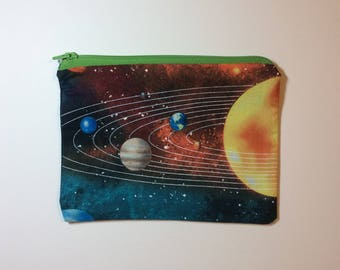 Quirky Monday Crafts Zipper Pouch, Orbits fabric, Knitting project bag, Crochet project bag, cosmetics bag, lined zipper bag