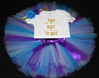 Mermaid Tutu Set,  Birthday Set, Second Birthday, Purple Birthday Tutu, Two Legit To Quit Birthday Tutu Set,  Second Birthday Tutu Outfit