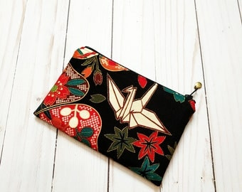 Japanese Blossom Black Small Zipper Pouch