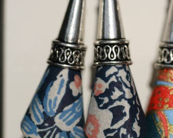 Cone patterned blue white pink Japanese washi paper origami earrings