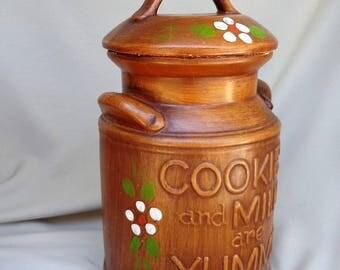 COOKIE JAR ~  Milk Jug, Brown,  Cookies and Milk are Yummy