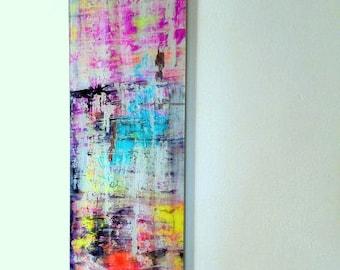 Plexiglass, Acrylic glass art, light blue, purple, violet, neon, yellow, orange, black, white, contemporary, modern art