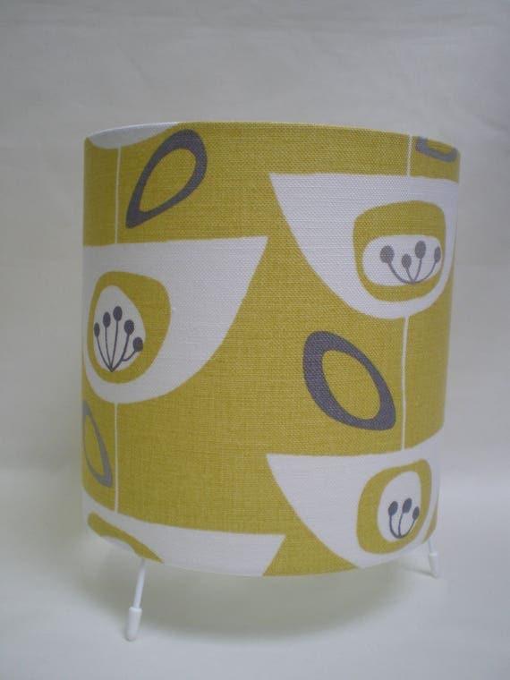 Handmade Drum Table Lamp - John Lewis Seedheads Fabric - Citrine