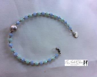 Lovely blue and green beaded bracelet