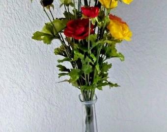 Ranunculus flower liquid illusion centerpiece, silk flower floral arrangements
