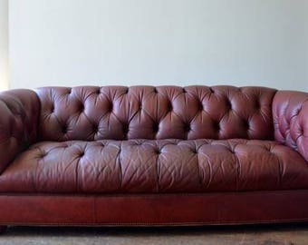 Vintage Chesterfield Leather Tufted Sofa Stunning!!