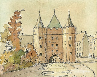 Castle Gateway Tower/fort - Watercolour Painting - Eastern European  -  small Pen & Ink Drawings - Art Paintings - Signed Dated 1962