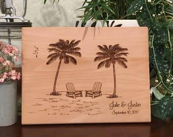 Custom Cutting Board, Beach Wedding, Tropical Wedding, Love Island, Bridal Shower Gift, Palm Tree, Personalized, Retirement Gift