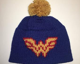 Wonder Woman Inspired Beanie - Warrior Hat  - Wonder Woman - DC Comics- Winter Hat - Birthday Gift- Christmas Gift