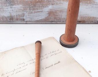 Vintage Wooden Bobbin and Pen