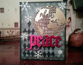Peace on Earth Holiday Card, Steampunk Holiday Card