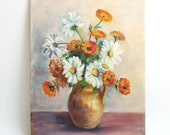 Vintage Painting on Canvas Panel, Jug of Flowers- Maybe Daisies and Poppies, by Artist Ann Urban, Gorgeous, Elegant, Unframed