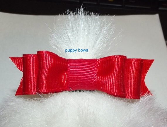 """Puppy Bows ~  Long 3"""" double loop bow tie pet hair bow latex bands or barrette red black blue pink lots of colors"""