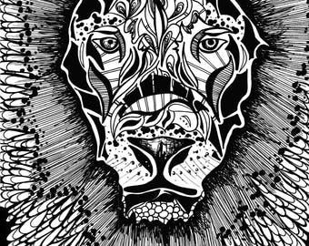 Limited Edition Lion Face Drawing Print- Signed by Kelsey Montague